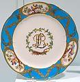 Dessert plate, Prince de Rohan Service, Sevres Porcelain Manufactory, France, 1771, soft-paste porcelain, turquoise ground, polychrome enamel, gilding - Krannert Art Museum, UIUC - DSC06615.jpg
