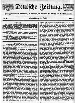 Georg Gottfried Gervinus - First issue of July 1, 1847 of Deutsche Zeitung, a liberal daily issued founded by Georg Gottfried.