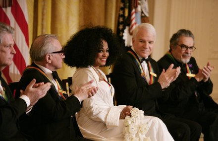 Diana Ross is applauded by her fellow Kennedy Center honorees as she is recognized for her career achievements by President George W. Bush in the East Room of the White House Sunday, December 2, 2007, during the Kennedy Center Gala Reception. From left to right: singer-songwriter Brian Wilson; filmmaker Martin Scorsese; Ross; comedian, actor and author Steve Martin, and pianist Leon Fleisher. Diana Ross is applauded by her fellow Kennedy Center honorees.jpg