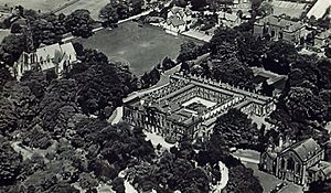 Didsbury Campus - An aerial view of Didsbury College, 1950. The centre building is the original house, the old chapel building is at the bottom right, and St Paul's Methodist Church is at the top left.