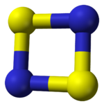Space-filling model of disulfur dinitride