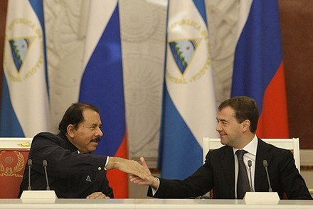 Nicaraguan president, Daniel Ortega with then Russian President Dmitry Medvedev in Moscow in 2008 Dmitry Medvedev 18 December 2008-6.jpg
