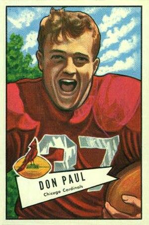 Don Paul (defensive back) - Paul on a 1952 Bowman football card