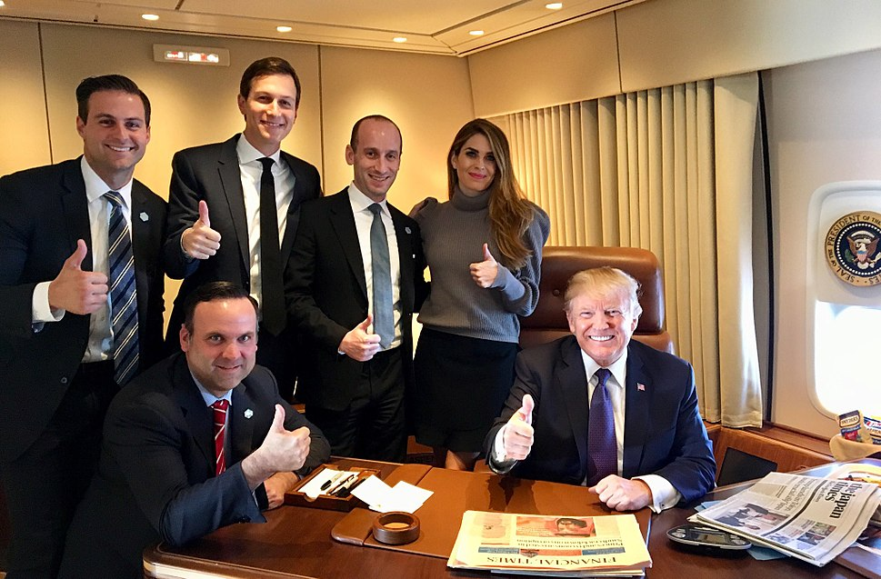 Donald Trump and staff on Air Force One