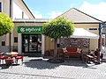 Dorothea bar and bistro. OTP Bank. - Szentendre, Dumtsa Jenő and Péter Pál streets corner.JPG