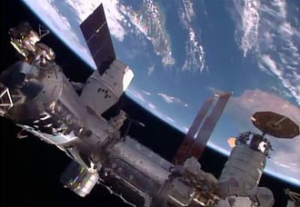 Dragon and Cygnus cargo vessels were docked at the ISS together for the first time in April 2016. Dragon and Cygnus docked on ISS.jpg