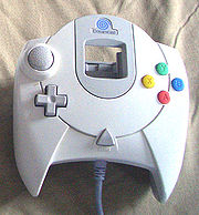 The Dreamcast controller in Europe, with a blue spiral.