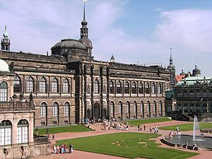 Gemäldegalerie Alte Meister - The Semper Gallery that houses the Gemäldegalerie seen from the Zwinger courtyard