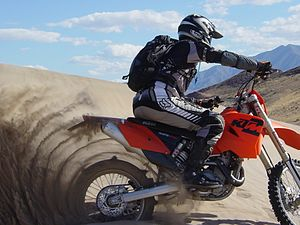 Dumont Dunes, California. Rider (author) is on...