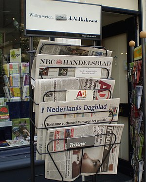 Dutch newspapers at a bookstore in Nijmegen