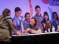 E3 2011 - Dot-Marie Jones (Coach Beiste) from Glee signs for fans at the Konami booth (5830561069).jpg