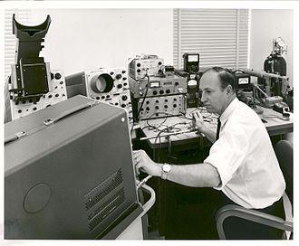 Gunn diode - NASA ERC scientist W. Deter Straub conducting an experiment with the Gunn effect.