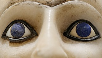 Blue - Close-up of the blue, lapis lazuli inlays used for the irises in the Statue of Ebih-Il, dating to the twenty-fifth century BC, discovered in the temple of Ishtar at Mari