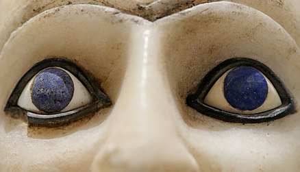 Close-up of the blue, lapis lazuli inlays used for the irises in the Statue of Ebih-Il, dating to the twenty-fifth century BC, discovered in the temple of Ishtar at Mari Ebih-Il Louvre AO17551 n11.jpg