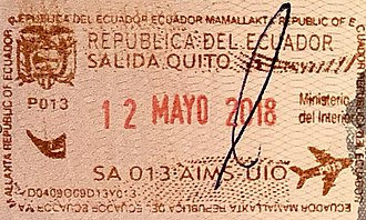 Visa policy of Ecuador - Image: Ecuador Exit Passport Stamp, 2018