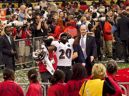 Ed Reed celebrates following victory.