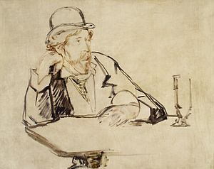 George Moore (novelist) - A drawing of George Moore in Paris by Édouard Manet