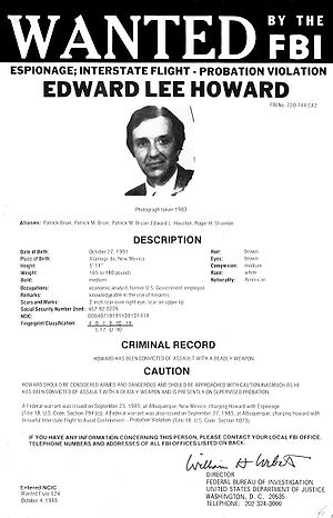 1995 CIA disinformation controversy - FBI wanted poster of U.S. defector Edward Lee Howard.
