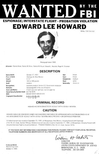 Edward Lee Howard - Howard's 1986 FBI wanted poster