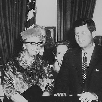 Second-wave feminism - Image: Eleanor Roosevelt and John F. Kennedy (President's Commission on the Status of Women) NARA cropped