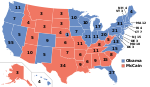 Electoral map, 2008 election