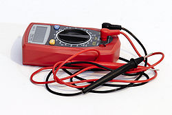 A multimeter can be used to measure the voltage between two points