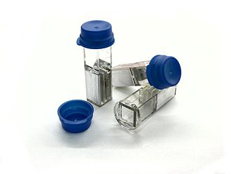 Electroporation - Cuvettes for in-vitro electroporation. These are plastic with aluminium electrodes and a blue lid. They hold a maximum of 400 μl.