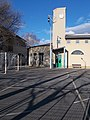 Elementary school, bell and clock tower, football goal, 2019 Rákosliget.jpg