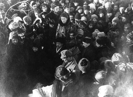 Here, Emma Goldman delivers a eulogy at Peter Kropotkin's funeral procession. Immediately in front of Goldman stands her lifelong comrade Alexander Berkman. Kropotkin's funeral was the occasion of the last great demonstration of anarchists in Moscow--tens of thousands of people poured into the streets to pay their respects. Emma Goldman gives eulogy at Peter Kropotkin's funeral.jpg