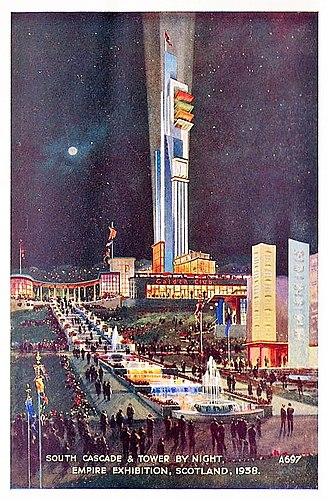Empire Exhibition, Scotland - Night view of South Cascade at the Empire Exhibition 1938 in Bellahouston Park, Glasgow