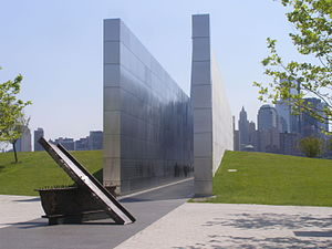 Liberty State Park - Empty Sky Memorial with a remnant from the World Trade Center in the foreground