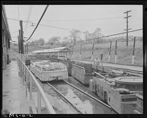 Pittsburgh Coal Company - Empty shuttle coal cars, Westland Mine, Washington County, Pennsylvania.