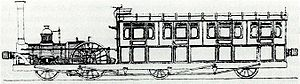 British railcars and diesel multiple units - Steam railcar Enfield built by William Adams for the Eastern Counties Railway in 1849. Note the raised buffers for use with other rolling stock.