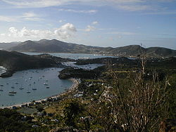 English and Falmouth Harbour on Antigua.