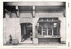Jean Bertin Espicier Gravure de 1904 représentant une épicerie du XIVe siècle.