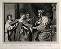 Esther faints before King Ahasuerus. Engraving, 1767, after Wellcome V0034399.jpg