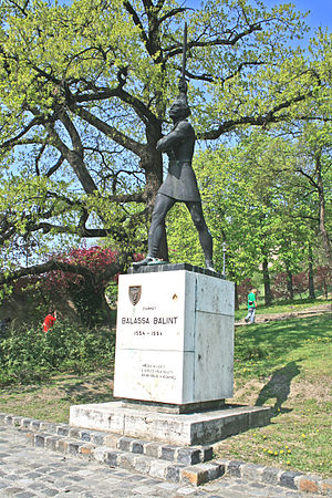 Balint Balassi Memorial Sword Award - Statue of Bálint Balassi in park, Esztergom Castle, Esztergom