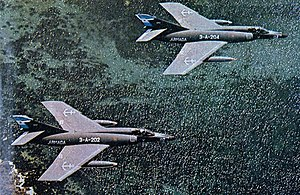 2da Escuadrilla Aeronaval de Caza y Ataque - A pair of Super Etendards in 1982; the squadron's five aircraft were used to carry the AM39 Exocet missile against the British Task Force