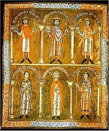 Three men, each wearing a crown, and three men, each holding a crosier
