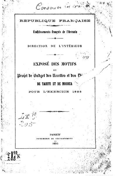 File:Exposé des motifs du projet de budget des recettes et des dépenses de Tahiti et de Moorea pour l'exercice 1885.djvu