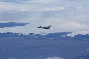 An USAF F-15 Eagle fighter flying over Iceland during an Icelandic Air Policing patrol in September 2010