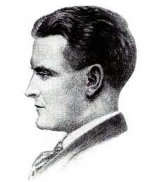 A profile drawing of a man's head and shoulders