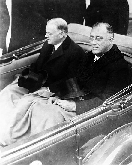 Outgoing president Herbert Hoover and Roosevelt on Inauguration Day, 1933 FDR Inauguration 1933.jpg