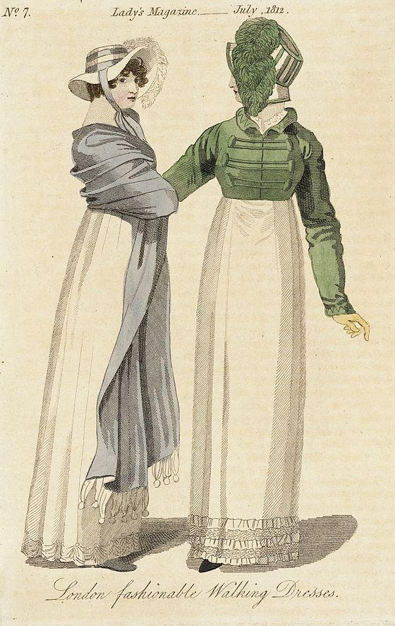 Ilustración de damas con chaqueta Spencer y chal. (Londres, 1812).