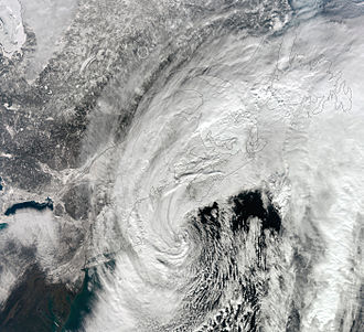 2012–13 North American winter - NASA satellite image of the strong nor'easter over New England on February 9, 2013.