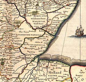 The Fens - Southern Lincolnshire from a mid-17th-century atlas, showing unsettled areas within undrained fens