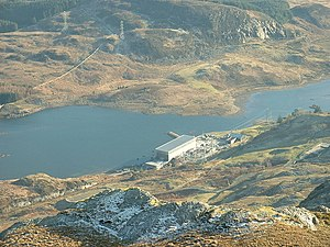 Ffestiniog Power Station - The main building and Tanygrisiau reservoir