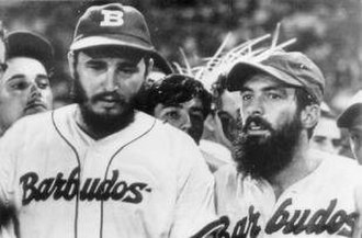 "Camilo Cienfuegos - Cienfuegos (right) with Fidel Castro in 1959 playing baseball. The team name Barbudos means ""bearded ones"""