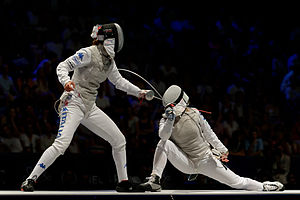 Foil (fencing) - Arianna Errigo (L) competes against Carolin Golubytskyi (R) in the final of the women's foil event, 2013 World Fencing Championships