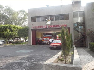 Ciudad Universitaria - Entrance of a fire station over Ciudad Universitaria